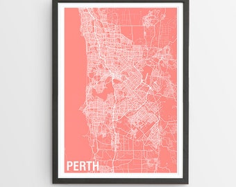 Perth City Map Print - Various Colours / Australia / City Print / Gifts for Men / Australian Maps / Giclee Print / Poster