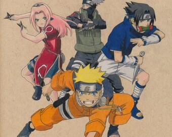 Naruto Team Drawing PRINT