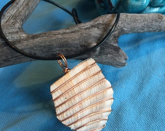 Tumbled Shell Wrapped in Copper // Beach Necklace // Shell Necklace // Gifts for Her // Gifts for Mom // Beach Lover