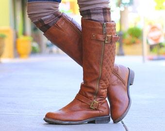 brown plaid Boot cuffs, plaid legwarmers, mocha boot toppers,