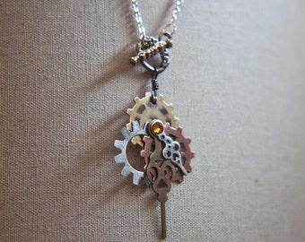 Steampunk Necklace - Vintage Clockwork Design with Swarovski Crystals - Fast ship Steampunk Jewelry