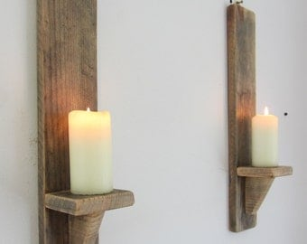 Pair rustic recycled pallet wood wall sconce candle holders