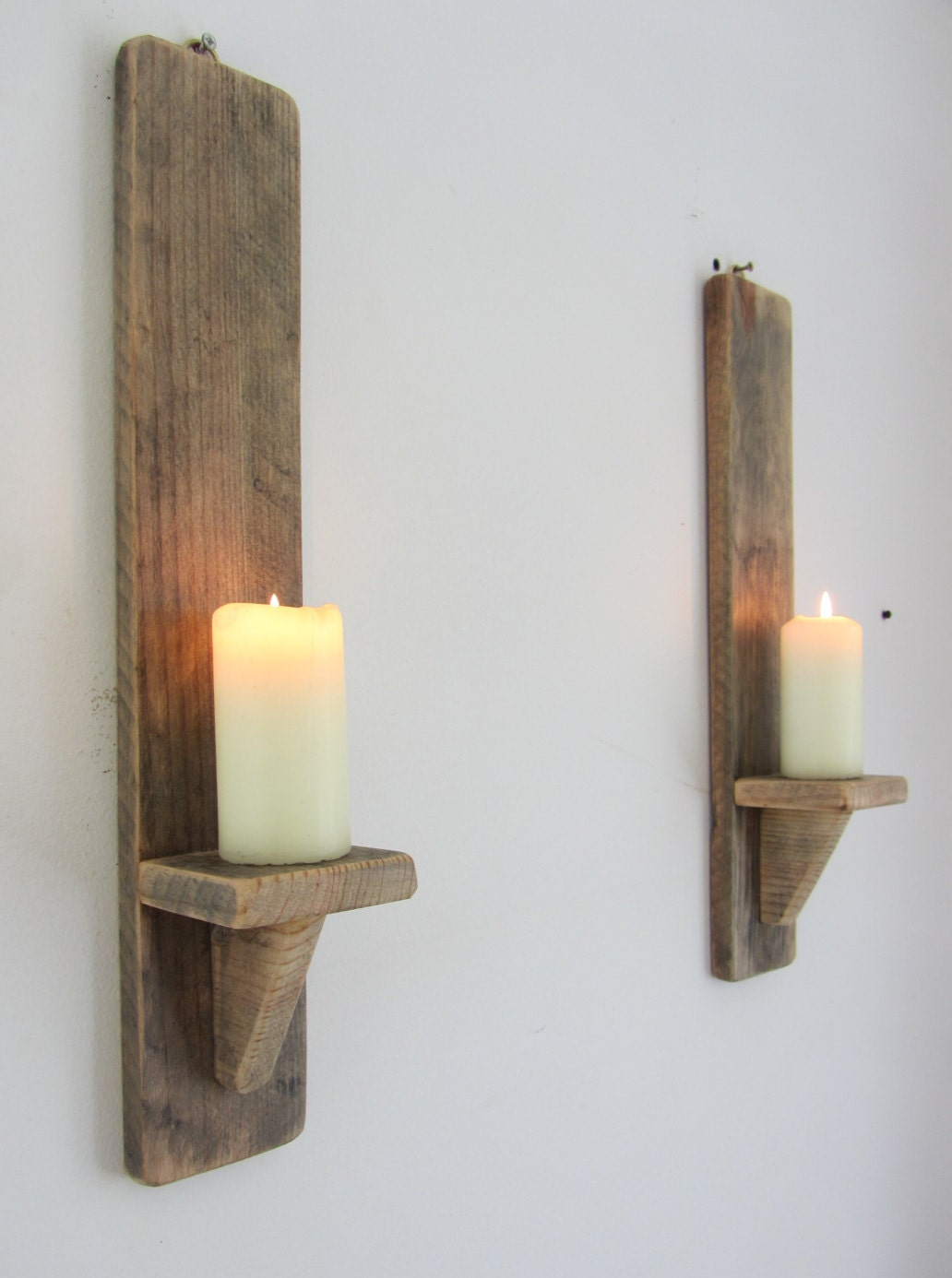 Wall Candle Sconces Wood : Pair rustic recycled pallet wood wall sconce candle holders