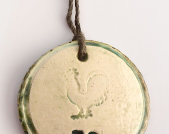 ceramic pendant necklace stamped with no & rooster