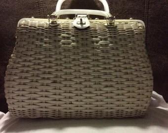 1960's white wicker handbag purse lucite handles