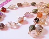 Wire Wrapped Semi Precious Stones Necklace Vintage 1960s