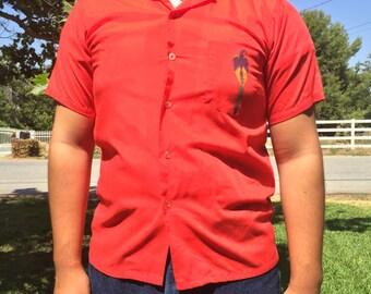 1960's Red print Shirt