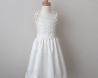 Girls' Satin & Lace Dress - Size 5, Girls Ivory Dress, Girls Party Dress , Girls Vintage Style Dress READY TO  SHIP