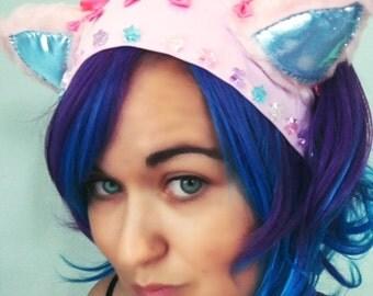 Pink Kitten headband with bows