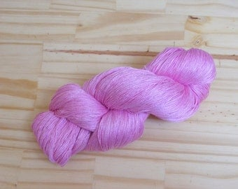 Silk lace weight yarn -pink - hand dyed by Rouge Bobine