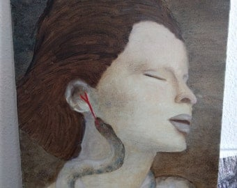 woman closed eyes snake portrait hand-made oil painting
