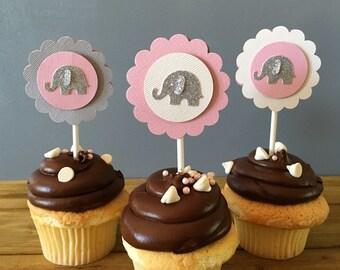 12 Elephant Cupcake Toppers, Elephant Cake Topper, Baby Shower, Elephant decoration, elephant party decoration, elephant baby shower