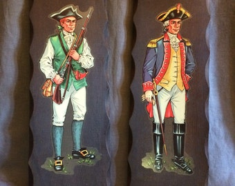 Wooden Decal Wall Hangings | American Revolution | Minuteman | Continental | Vintage 1960-70 | Coloniawful | Americana | Boys Room | Man Cav