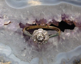Daisy Cluster Diamond Set Ring 18ct Gold and Platinum
