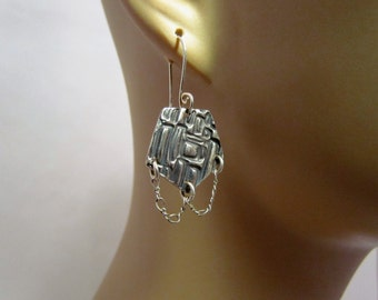 Item 4700-4 Aztec Style Fine Silver Dangling Earrings Collection Lightweight Hand Sculpted Hand Crafted One-of-a-kind