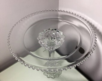 Crystal and Glass Cake Stand, Wedding, Wedding Cupcake Plate, Wedding Cake Pedestal, Cupcake Pedestal, Cake Pedestal, Wedding