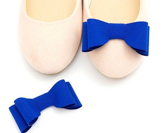 Cobaltic/mauve-blue bows - shoe clips Manuu