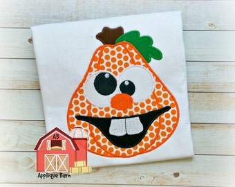 Silly pumpkin applique, jack o lantern pumpkin applique design- Halloween Applique Design- Fall Applique Design- Pumpkin Embroidery design