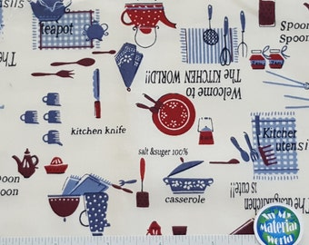 """Kitchen Utensils Fabric, """"Welcome to the Kitchen World"""" by Kumiko Fujita, Blue Red, Quilting Fabric, Craft, 100% Cotton, OOP, BTY, BTHY"""