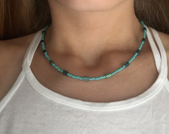 Turquoise Seed Bead Necklace with Patterned Turquoise Beads 16 inches