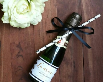 Mini Champagne Labels | Mini Wine Labels  | Bridesmaid Wine Label | Wine and White Stripe Favor  | Be My Maid of Honor **LABELS ONLY**
