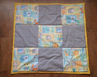 Baby Play Quilt in Yellow and Grey with Alphabet, Animal and Nappy Pin designs