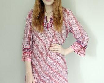 Vintage Indian Anokhi Block Print Patterned Tunic/Dress/Kaftan/Kurta - Small/Medium