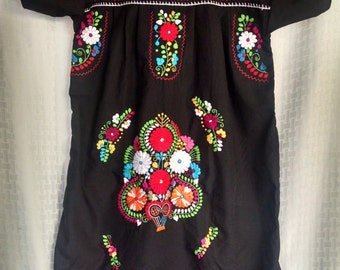 Yucatecan Black Hand Embroidered dress