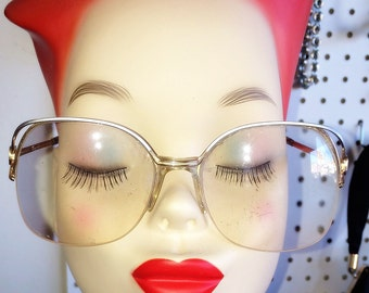 Tura Vintage Glasses Women's Silver & Gold Metal Frames Eyeglasses 1980s Large Cat's Eye Style