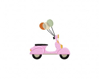 scooter embroidery design, pink scooter embroidery design, sttiched embroidery design, scooter with balloons, bike embroidery deisgn