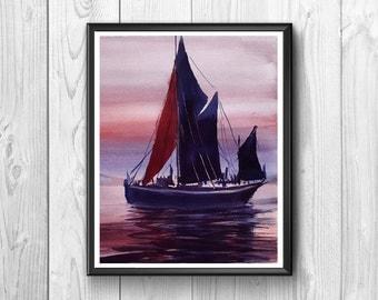 Posters depicting a sailboat at sea