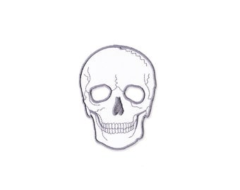 Skull  Patch - White See ThroughEye Skull  patch Embroidered Iron on Patch - Skull  Iron on Applique