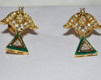 white topaz/C-Z gold plated  with green color earring