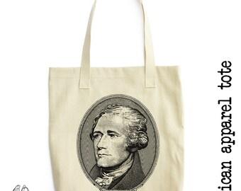 Alexander Hamilton Tote Bag, LA Apparel, Founding Father, America, Jefferson, Miranda, Musical, Cute Gift