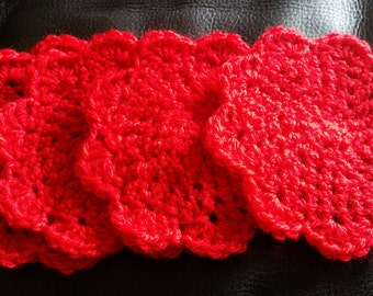 Set of 4, 6 or 8 Hand Crocheted Coasters
