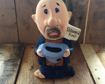 "Vintage 1960s Hobo Begging ""Retirement Fund"" Piggy Bank / Old Man Money Box / Made in Japan / Shoe-less Piggy Bank"