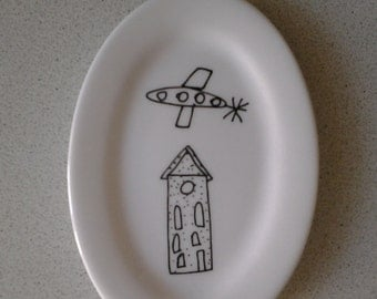 "Plate ""Plane and the house"""