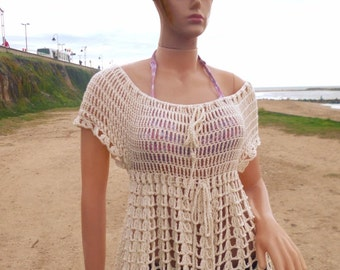 Cotton crochet blouse FREE SHIPPING handmade summer blouse light blouse crochet top
