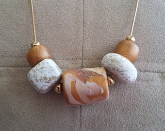 Marbled Gold and White Necklace