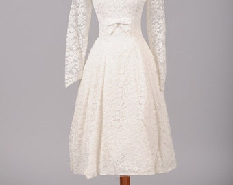 1950 White Tea Length Vintage Wedding Dress