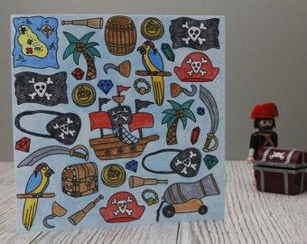 Pirate Birthday card, Pirate children card, skull, crossbones, Walk the plank, treasure, 'shiver me timbers', print of hand drawn blank card
