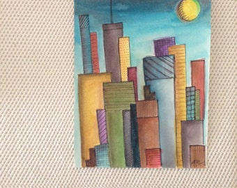 Big City, Medium Watercolor