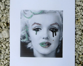 Glittering Marilyn Monroe black and white photography, with nail polish painted / / original image