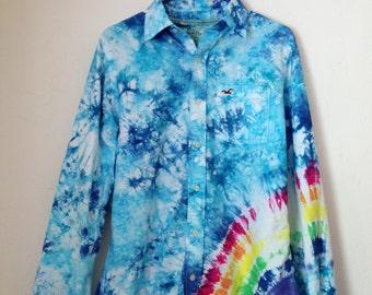Medium Rainbow Tie Dye Hollister Long Sleeve Button Down Shirt