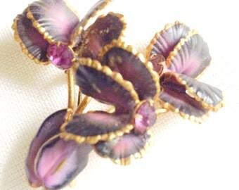 vintage style floral brooch // purple violets