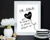 Oh Allah Forgive Me 8x10 Printable, Islamic art, dua art print