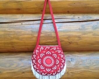 SALE 70s Vintage red Beaded fringe mandala shoulder / hobo bag