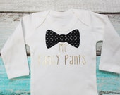 Mr Fancy Pants Bow Tie Gold Metallic and Black Print Vest Bodysuit Onesie Birthday Gift Funny