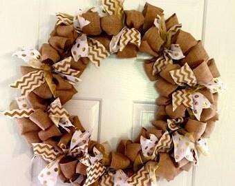 Burlap and Polka Dot Wreath