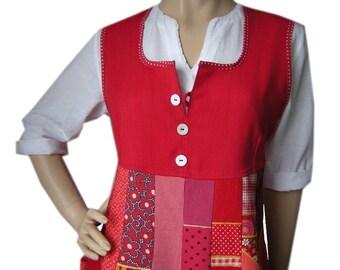 Red tunic dress Gr.M 42 long top mini dress tunic